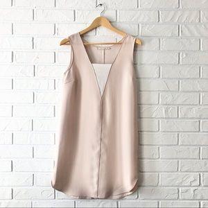 Zara Basic neutral sleeveless beige shift dress